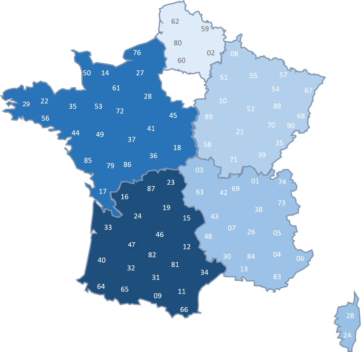 Carte de france des sections régionales de la SF2M